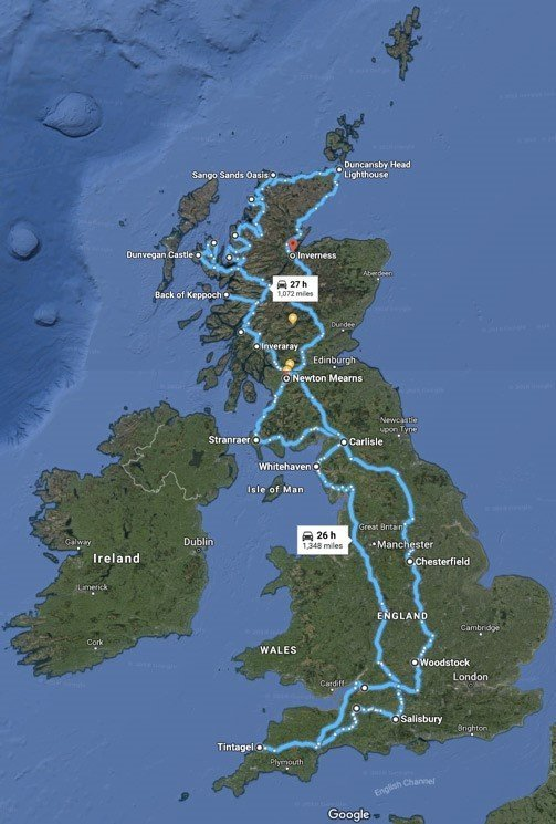 Scotland-road-trip-route-map-2-weeks