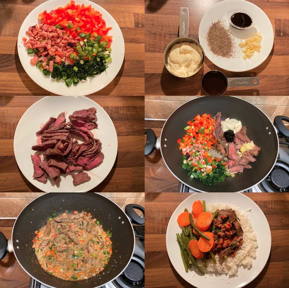 Steak and vegetables with a delicious creamy sauce